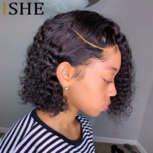 HD Transparent Lace Wigs Invisible13x6 Lace Front Wigs Short Bob Curly Lace Front Human Hair Wig Pre Plucked Lace Wigs For Women discountshub