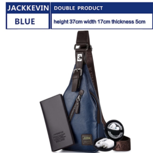 JackKevin Men's Fashion Crossbody Bag Theftproof Rotatable Button Open Leather Chest Bags Men Shoulder Bags Chest Waist Pack discountshub