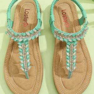 LOSTISY Women Clip Toe Rhinestone Comfy Elastic Beach Flat Sandals discountshub