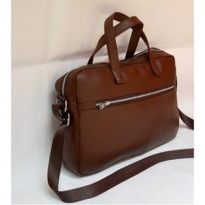 Leather Laptop Office Bag - Brown discountshub