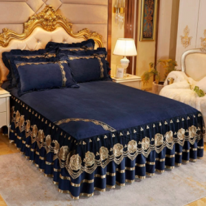 Luxury Bedspread on The Bed Wedding Bed Sheet Lace Bed Skirts Queen Size Crystal Velvet King Size with Pillowcases Home Textiles discountshub