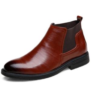 Men Cow Leather Non Slip Elastic Panels Slip On Casual Boots discountshub