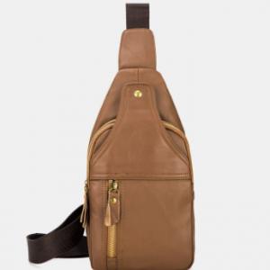 Men Genuine Leather Retro Large Capacity Crossbody Bag Chest Bag Sling Bag discountshub