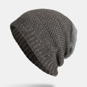 Men Polyester Cotton Knitted Plus Velvet Two-color Dual-use Casual Warmth Beanie Hat discountshub