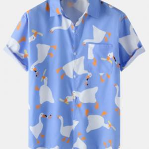 Mens Cartoon Duck Print Button Up Short Sleeve Shirts discountshub