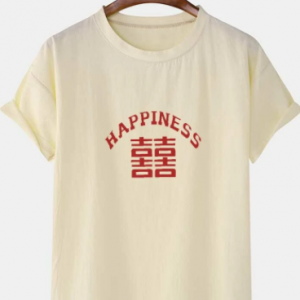 Mens Chinese Character Happiness Print Linen Texture Short Sleeve T-Shirts discountshub
