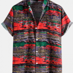 Mens Colorful Camo Pattern Stand Collar Cotton Linen Short Sleeve Shirts discountshub