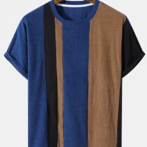 Mens Contrasting Colors Plaid Polar Fleece Texture Patchwork Short Sleeve T-Shirt discountshub
