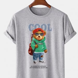 Mens Cool Cartoon Bear Print 100% Cotton Casual Short Sleeve T-Shirts discountshub