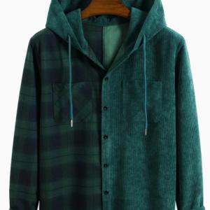 Mens Corduroy Plaid Stitching Long Sleeve Preppy Hooded Shirts discountshub