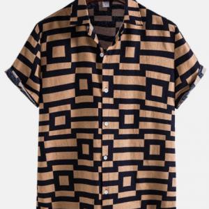 Mens Cotton Linen Geometric Button Up Vintage Short Sleeve Shirts discountshub