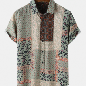 Mens Ditsy Floral Scarf Print Ethnic Style 100% Cotton Short Sleeve Shirts discountshub