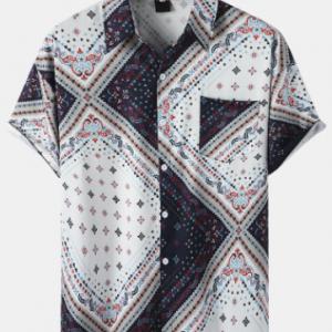Mens Ethnic Argyle Pattern Button Up Short Sleeve Shirts With Pocket discountshub