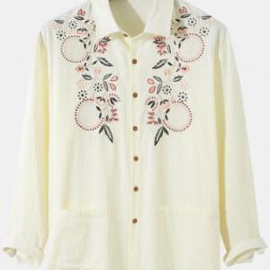 Mens Ethnic Flower Embroidery 100% Cotton Pocket Long Sleeve Shirt discountshub