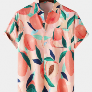 Mens Fruit Print Lapel Loose Short Sleeve Shirts With Pocket discountshub