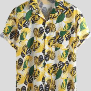 Mens Hawaiian Floral Printed Cotton Chest Pocket Turn Down Collar Beach Short Sleeve Loose Shirts discountshub