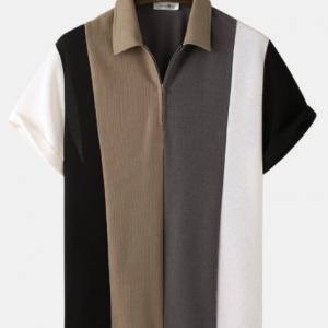 Mens Knitted Multicolor Patchwork Short Sleeve Golf Shirt discountshub