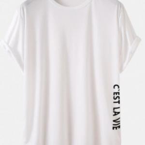 Mens Letter Side Print High Low Curved Hem Sport Short Sleeve T-Shirts discountshub