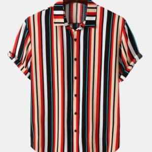 Mens Multi Color Stripe Button Up Street Short Sleeve Shirts discountshub