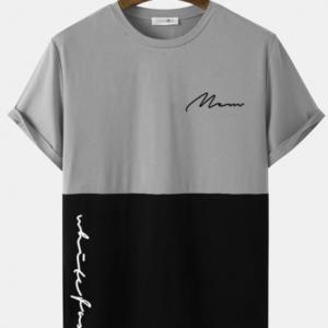 Mens Script Print Two Tone Stitching Casual Short Sleeve T-Shirts discountshub