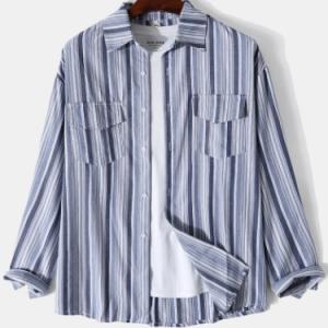 Mens Striped Lapel Double Pocket Cotton Long Sleeve Shirts discountshub