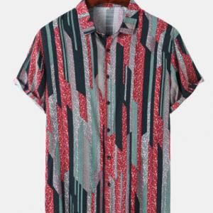 Mens Vintage Geometric Print Lapel Holiday Short Sleeve Shirts discountshub