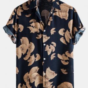 Mens Vintage Leaf Print Button Up Holiday Cotton Short Sleeve Shirts discountshub