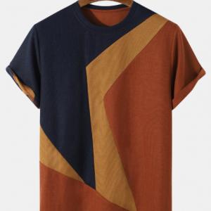 Plus Size Mens Knit Irregular Color Block Stitching Short Sleeve Fashion T-Shirts discountshub