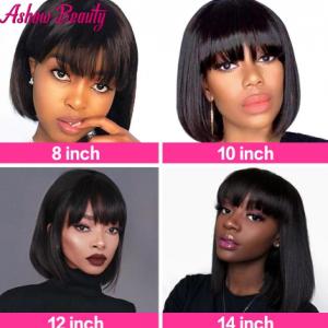 Short Bob Wig With Bangs100% Human Hair Wig With Bangs Straight Brazilian Hair Wig For Black Women Perruque Cheap Human Hair Wig discountshub