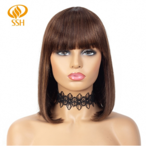 Short Human Hair Wig with Fringe for Women Straight Remy Hair Bob Wigs With Bangs Dark Brown Balayage Highlight Color discountshub