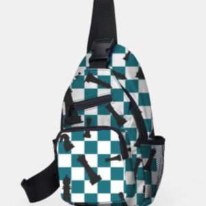 Stylish Dacron Checkerboard Chess Combination Pattren Large Capacity Chest Bag discountshub