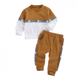 Toddler Kids Baby Boys Clothes Set Long-sleeved Letter Personality Round Neck Hoodies and Solid Color Elastic Long Pants discountshub