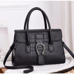 Trend Tote Bag With Metal Buckle Handbag - Black discountshub
