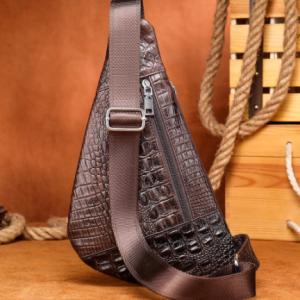 WESTAL Croco Designer Men's Sling Bags for Men Genuine Leather Shoulder Bags Fashion Outdoor Travel Crossbody Chest Bag/Pack 698 discountshub