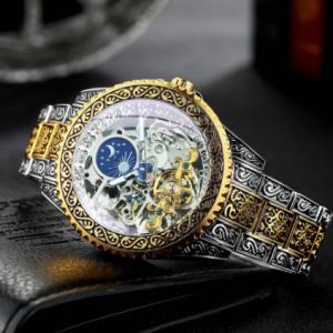 WINNER Man Tourbillon Watch Gold Skeleton Mens Watches Top Brand Luxury Engraved Vintage Mechanical Moon Phase Steel Strap Clock discountshub