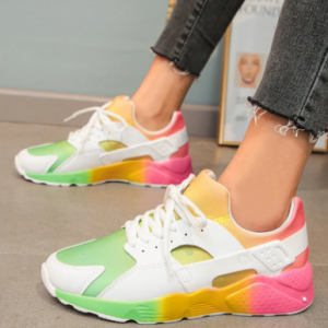 Women Colorful Mesh Fabric Comfy Breathable Casual Running Shoes discountshub