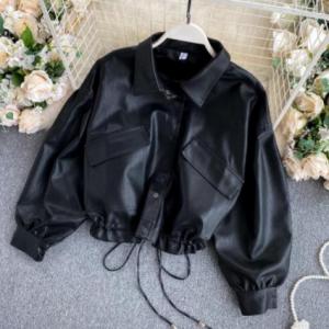 ZQLZ Vintage Leather Coat Women 2020 New Loose Black Pu Jacket Female Single Breasted Punk Short Faux Leather Overcoat Mujer discountshub