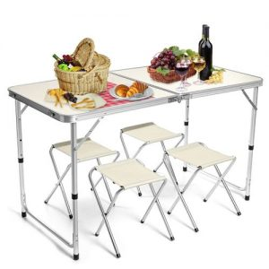 1.2m Portable Aluminum Alloy Folding Table-With 4 Chair discountshub