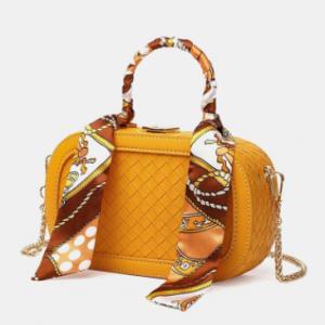 All-match Bowknot Decor Woven Pattern Stitch Detail Large Capacity Waterproof Crossbody Bag discountshub