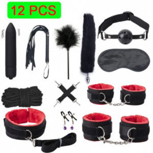 BLACKWOLF Bed Bondage Set BDSM Kits Exotic Sex Toys For Adults Games Leather Handcuffs Whip Gag Tail Plug Women Sex Products discountshub