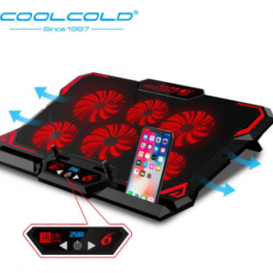 COOLCOLD Gaming Laptop Cooler Notebook Cooling Pad 6 Silent Red/Blue LED Fans Powerful Air Flow Portable Adjustable Laptop Stand discountshub
