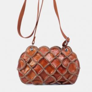 Vintage Genuine Leather Crossbody Bag Stylish All-Over Design Exquisite Hardware Coin Bag discountshub