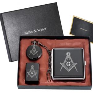 Masonic Pocket Watch Set Men's Masonic Clock Arabic Digital Dial Stainless Steel Cigarette Case Black Lighter Gift Box for Men discountshub