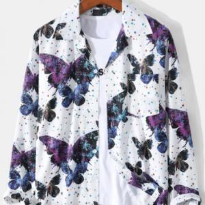 Mens All Over Butterfly Polka Dot Print Revere Collar Short Sleeve Shirts discountshub