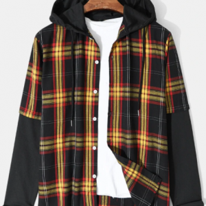 Mens Check Stitching Faux Two Pieces Casual Drawstring Hooded Shirts discountshub