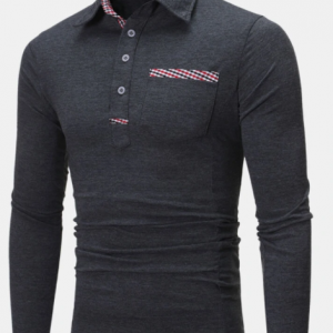 Mens Contrast Detail Cotton Plain Casual Long Sleeve Golf Shirts discountshub