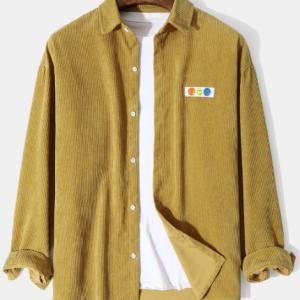 Mens Corduroy Lapel Button Up Loose Casual Long Sleeve Shirts discountshub