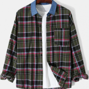 Mens Plaid Contrast Lapel Cotton Casual Long Sleeve Shirts With Pocket discountshub
