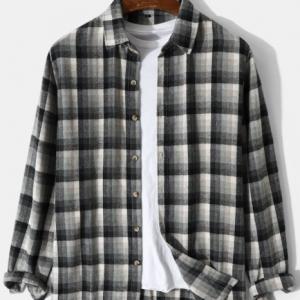 Mens Plaid Lapel Button Up Preppy Long Sleeve Shirts discountshub