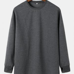 Mens Solid Color Crew Neck Cut Out Cuff Basics Longline T-Shirts discountshub